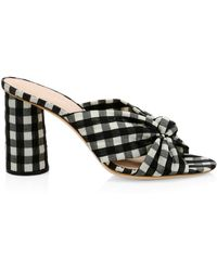 Loeffler Randall Coco Knotted Gingham Mules - Red