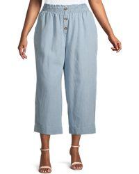 C&C California Plus Julia Stripe Cropped Wide-leg Trousers - Blue