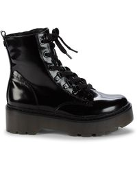 Circus by Sam Edelman Soya Patent Combat Boots - Black