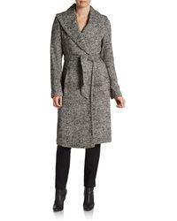 Saks Fifth Avenue Black Herringbone Blanket Coat - Gray
