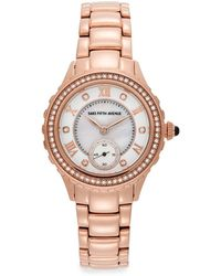 Saks Fifth Avenue Crystal & Rose Goldtone Stainless Steel Sub-dial Watch - Pink