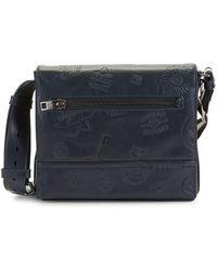 Bally Tamrac Embossed Leather Messenger Bag - Blue