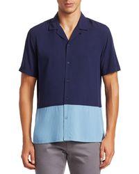 Saks Fifth Avenue Modern Colorblock Camp Shirt - Blue