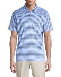 Bugatchi Striped Mercerized Cotton Golf Shirt - Blue