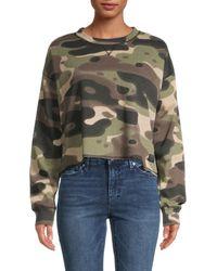 Kendall + Kylie Camo Cotton-blend Cropped Sweatshirt - Green