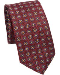 Saks Fifth Avenue Collection Floral Check Silk Tie - Red