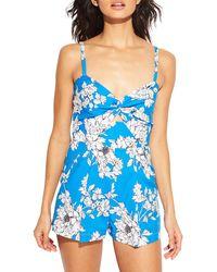 MILLY Twist Floral Romper - Blue