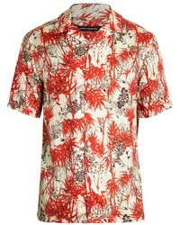 French Connection Men's Dione Short-sleeve Shirt - Salsa Red - Size M
