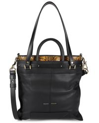 Proenza Schouler Women's Ps19 Small Snakeskin-print Leather Top Handle Bag - Black White