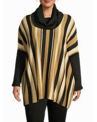 Joseph A Women's Metallic Stripe-print Poncho Jumper - Tapenade Speckles - Size 2x (18-20) - Multicolour