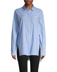 ESCADA Studded Linen & Cotton-blend Shirt - Blue