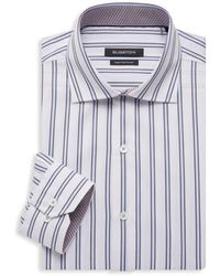 Bugatchi Regular-fit Striped Dress Shirt - White