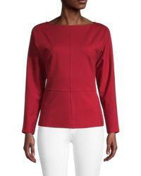 Donna Karan Women's Boatneck Dolman-sleeve Blouse - Scarlet - Size Xs - Red