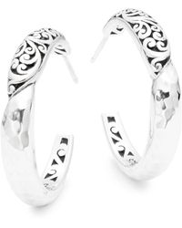 Lois Hill Classic Sterling Silver Hoop Earrings - Metallic
