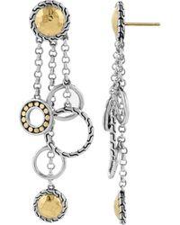 John Hardy Others 18k Yellow Gold & Sterling Silver Circle Chandelier Drop Earrings - Metallic