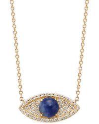 Effy 14k Yellow Gold, Sodalite & Diamond Eye Pendant Necklace - Multicolour
