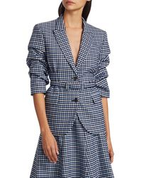 Michael Kors Women's Crushed-sleeve Fitted Plaid Blazer - Midnight - Size 6 - Blue