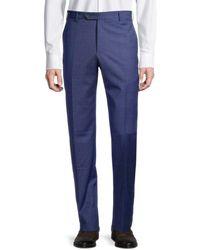 Zanella Men's Parker Textured Wool Trousers - Navy - Size 36 - Blue