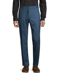 BOSS Plaid-print Wool Dress Pants - Blue