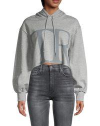 True Religion Women's Cropped Boxy Hoodie - Heather Grey - Size S