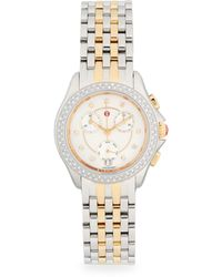 Michele Diamond & Two-tone Stainless Steel Chronograph Watch - Multicolour