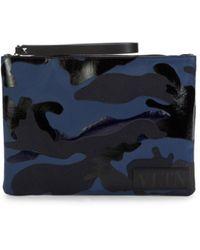 Valentino Garavani Men's Camo Wristlet Pouch - Marine - Blue