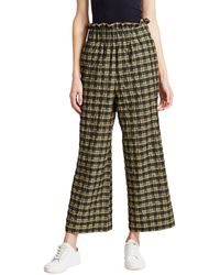 Ganni Check Seersucker Wide-leg Pants - Green