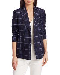 Akris Punto Women's Plaid Cotton & Silk Jacket - Dark Denim - Size 4 - Blue