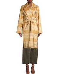 Lafayette 148 New York Vincenza Silk Plaid Topper Coat - Multicolour