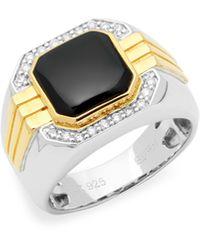 Effy 14k Yellow Gold, Sterling Silver, Onyx & Diamond Ring - Metallic