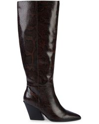Dolce Vita Isobel Embossed-snakeskin Leather Knee-high Boots - Brown