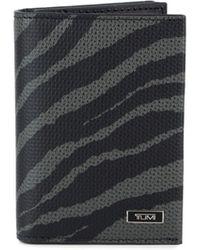 Tumi Tiger-print Gusseted Bi-fold Leather Card Case - Black