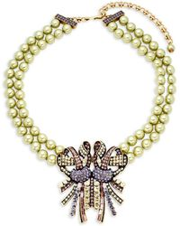 Heidi Daus - Faux-pearl Beaded Bow Necklace - Lyst