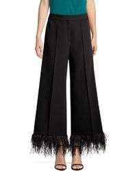 MILLY Hayden Wide-leg Italian Cady Cropped Trousers W/ Feather Hem - Black