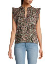 BB Dakota Women's Floral-print Cotton Top - Black - Size M