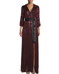 Alice + Olivia Bayley Sequin Collared Wrap Gown - Purple