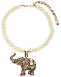 Heidi Daus Faux Pearl Elephant Pendant Necklace - Metallic