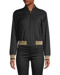 Versace Logo-back Baseball Jacket - Black