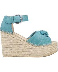 Marc Fisher Anty Suede Platform Wedge Espadrille Sandals - Natural