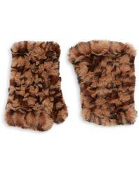 Saks Fifth Avenue Leopard-print Faux Fur Gloves - Brown
