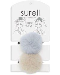 Surell Rabbit Fur Pom Pom Hair Tie - Blue