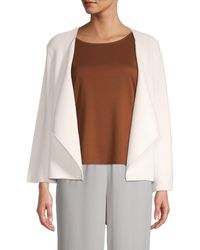 Eileen Fisher Organic Cotton & Recycled Nylon Open-front Cardigan - White