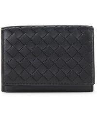 Bottega Veneta Intrecciato Leather Tri-fold Wallet - Black