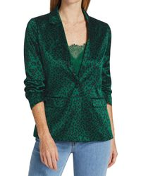 Cami NYC Ollie Leopard Silk Blazer - Green
