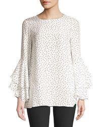 Lafayette 148 New York Meg Print Ruffle Sleeve Blouse - White