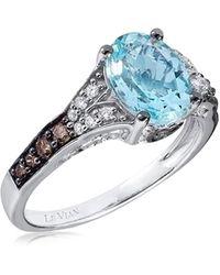 Le Vian Chocolatier® 14k Vanilla Gold®, Sea Blue Aquamarine®, Chocolate Diamond® & Vanilla Diamond® Ring