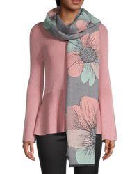 Saachi Reversible Floral-print Scarf - Grey