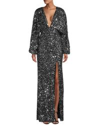 retroféte Women's Camille Plunge-neck Sequin Gown - Black - Size S
