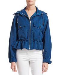 ESCADA Merri Cropped Hooded Peplum Rain Jacket - Blue