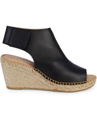Andre Assous Flora Leather Wedge Espadrilles - Black